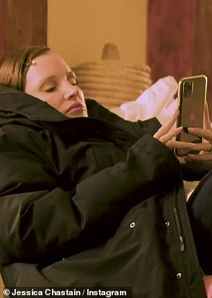 Birthday vid:The video opened with Chastain seen bundled up in a big coat, looking at her phone, where she's watching a video of Sebastian Stan washing his hands, while singing the Happy Birthday song