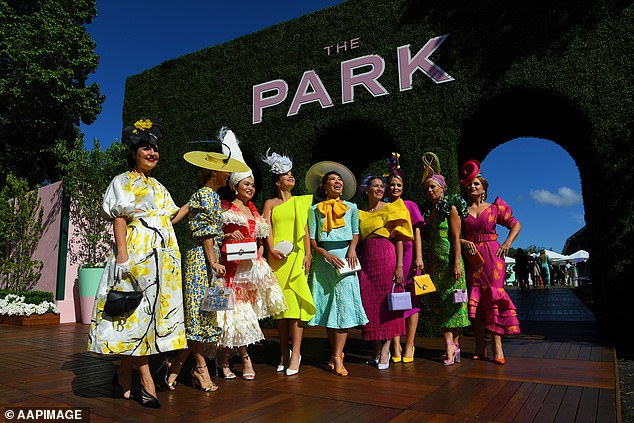 Fashions in the field participants on Melbourne Cup Day at Flemington Racecourse in 2019