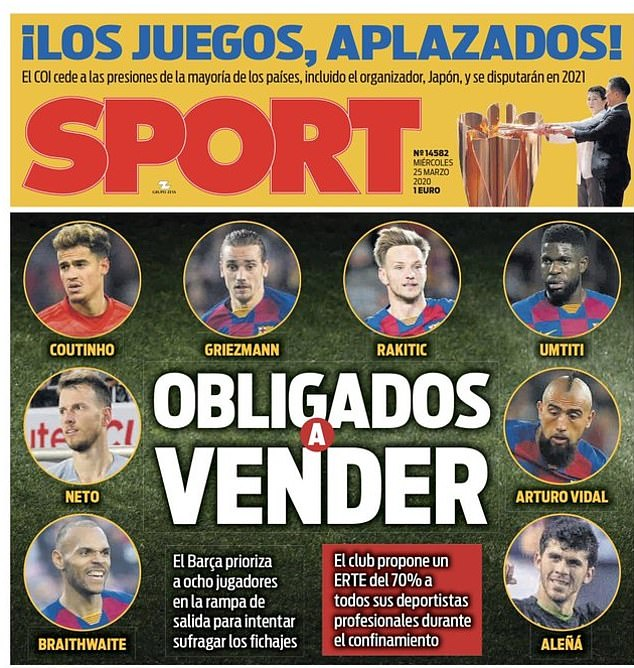 Sport report on Wednesday that Barcelona could sell eight players to rebuild their first team