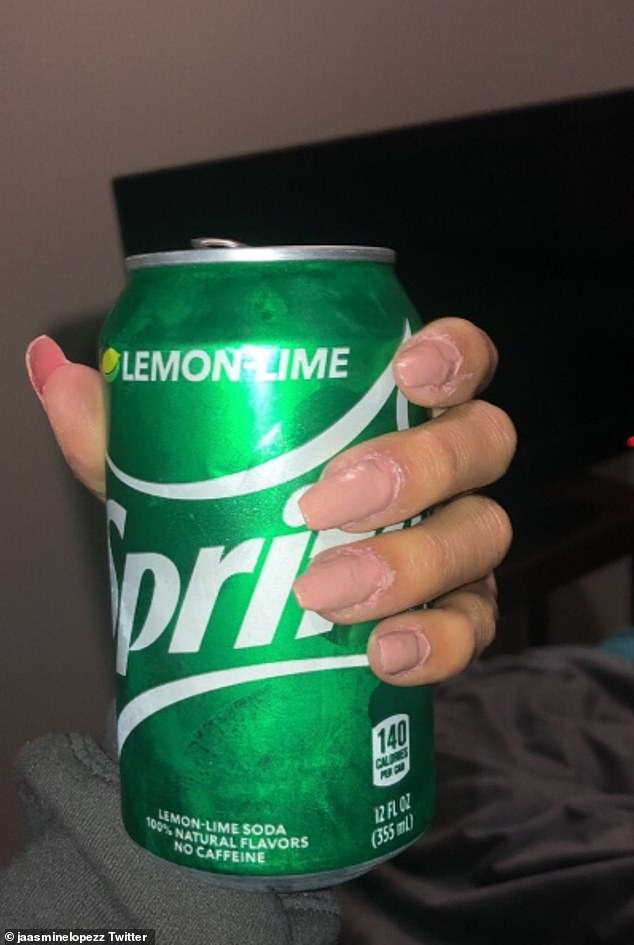American user Jasmine Lopez posted a picture of her nails, writing: 'Quarantine has me doing my own acrylic nails since all the salons are closed!'