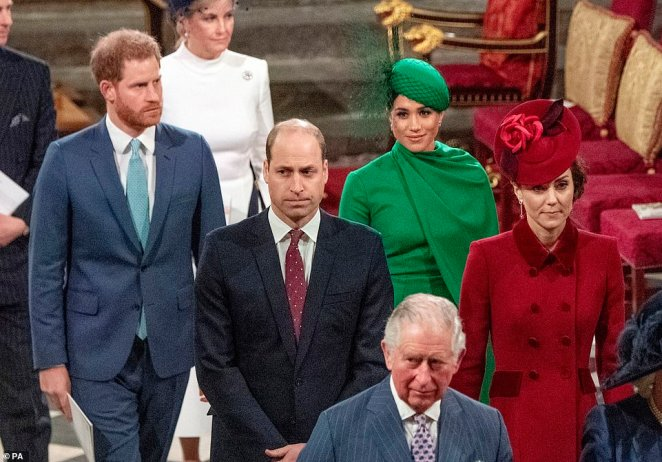 March 9: Charles also stood close to his children and his wives on March 9 at Westminster Abbey, before he is said to have been contagious. William and Kate are at Anmer Hall in Norfolk, while Harry and Meghan are back in Canada.