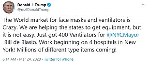 Trump on Tuesday tweeted proudly about the 400 ventilators he had sent to New York