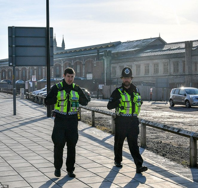 There are growing calls for police to be deployed at all main underground and overground stations to make sure only key workers are getting on trains (BTP officers pictured in Bristol today)