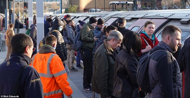 Commuters crammed on to the Central Line at Leytonstone this morning - where there was only one train every 15 minutes - when it would usually be around every three minutes
