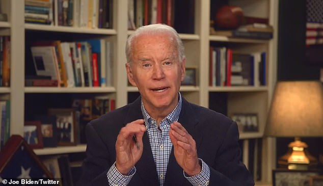 OVER IT: Joe Biden indicated Wednesday he was done debating Bernie Sanders, telling reporters, 'I think we've done enough debates, I think we should get on with this,' when asked if he would take the stage in April