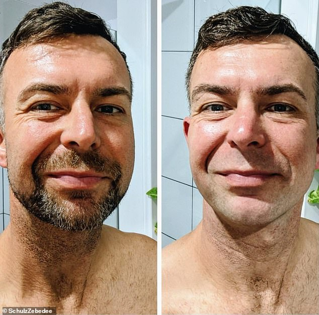 Professor McMillan said frontline healthcare workers - like South Australian paramedic Zebedee Schulz who is pictured before and after shaving his beard - should be clean shaven to ensure their face masks provide proper protection as they treat patients with COVID-19