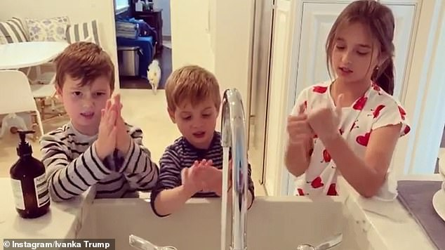 Case in point: Ivanka Trump, 38, took to Instagram on Wednesday to share a video of her children Arabella, Joseph and Theodore diligently scrubbing their hands while singing