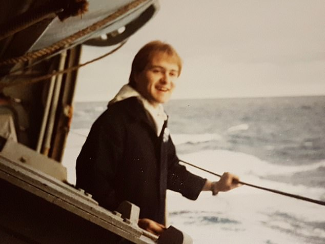 Richard Farrand aboard the HMS Invincible on duty in the South Atlantic. He was too busy celebrating, as HMS Invincible sailed into Portsmouth at the end of the war, to notice his hat had disappeared