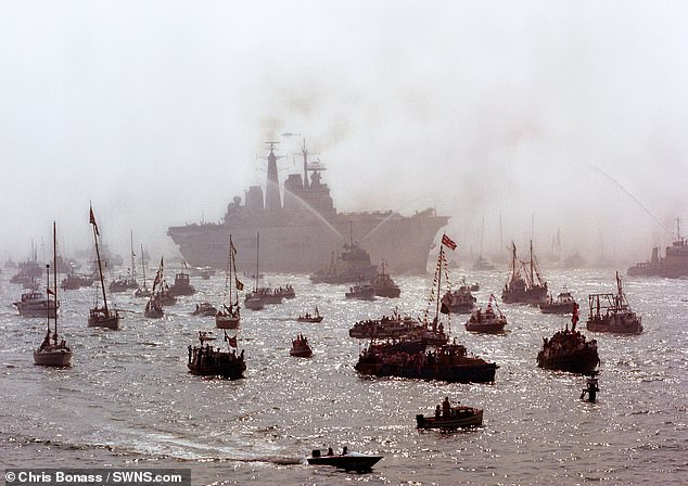 To mark the 35th anniversary of the HMS Invincible returning to Portsmouth after the Falkland's conflict amateur photographer Chris Bonass has released this previously unseen picture of the homecoming