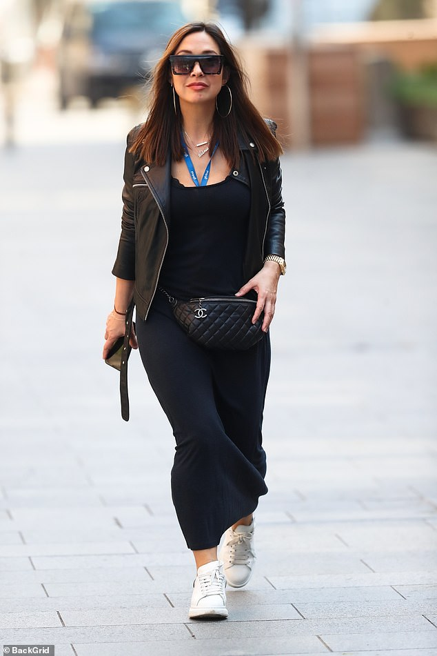 Looking good:Myleene Klass took a break from teaching as she was spotted making a chic arrival at Global Radio Studios on Friday, where she presents her Smooth radio show