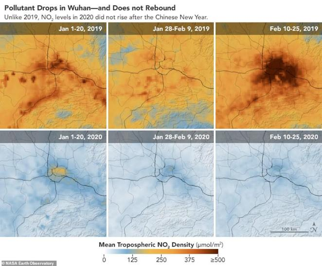 Six additional maps from NASA and ESA focusing on Wuhan reveal the concentration of nitrogen dioxide over three periods including before Lunar New Year, during celebrations and after the festivities in 2019 and 2020