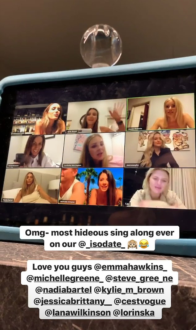 'Most hideous sing along ever!' Rebecca enjoyed another video call - this time with a smaller group of friends including Nadia, Jessie, Lorinska, Lana, Emma Hawkins and Jaggad co-founder Michelle Greene