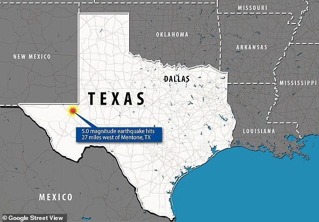 The largest of the five quakes had its epicenter less than 30 miles from the Mentone, Texas