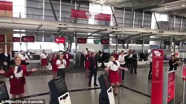 Around 27 Virgin Australia staff members were filmed performing the Nutbush at Sydney airport