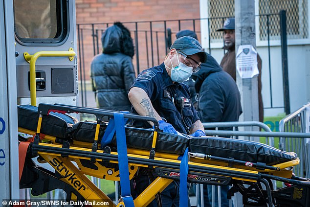 According toAnthony Almojera, an employee with the EMS officers union, emergency workers are falling ill from the many coronavirus related call their answering, saying: 'Our concern is that we don't have the resources like masks and other protective equipment'