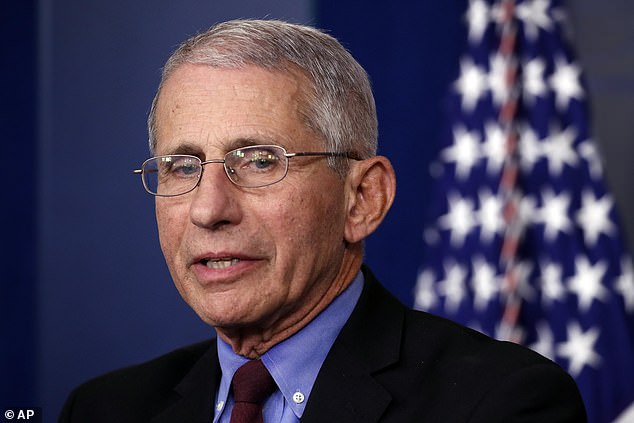 Dr. Anthony Fauci (pictured) said Trump's Easter deadline may have been a 'aspirational projection' to give anxious citizens hope