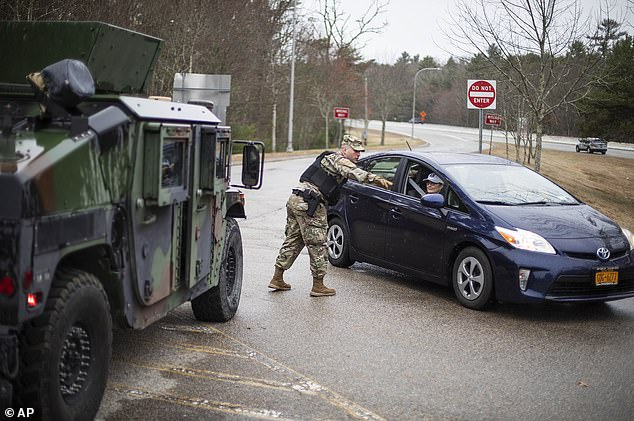 In Rhode Island on Saturday,drivers with New York license plates must stop and provide contact information and were told to self-quarantine for two weeks after entering the state