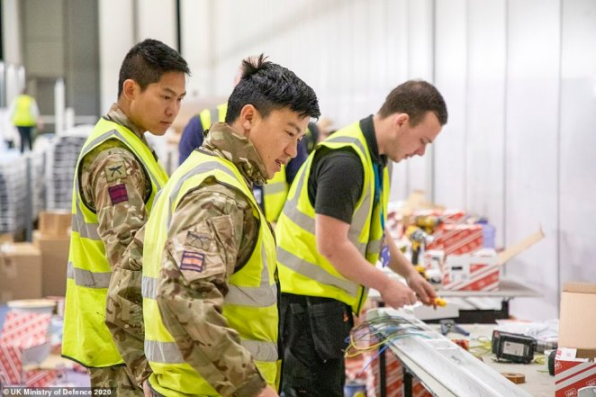 Soldiers help transform the exhibition centre into the new Nightingale Hospital as the nation tries to cope with the rising number of Covid-19 patients