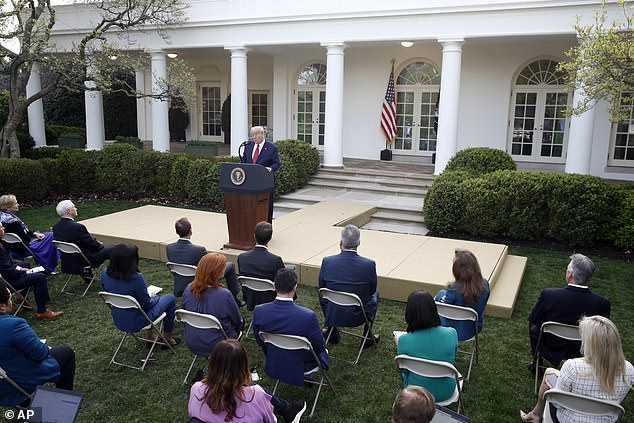 Reporters gathered in the Rose Garden for the press briefing Sunday as temperatures reached 70 in Washington D.C. – and chairs were seated one to two feet apart from one another as they continue practicing social distancing
