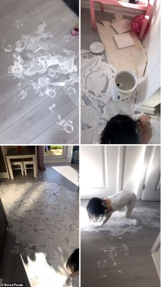Now that's a big mess! This American child stunned her parents when she attacked her home with a lot of white paint during the coronavirus lock-down