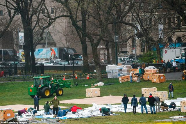 The temporary triage site is one of six being set up outside Mount Sinai hospitals in New York City and Long Island