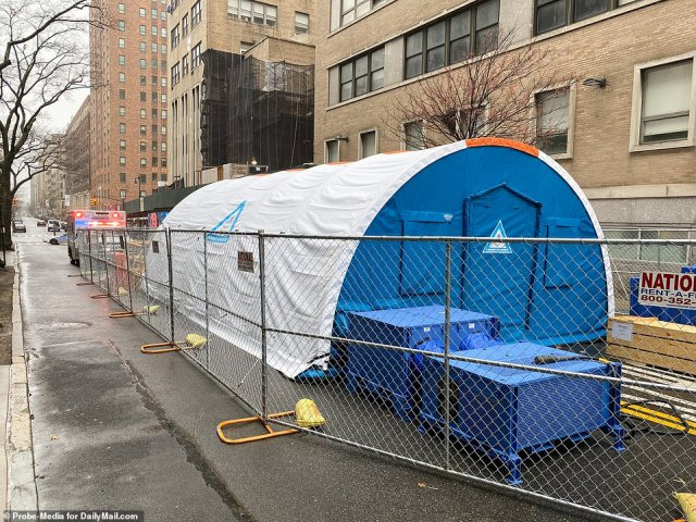 A rapid evaluation tent is seen above outside Mount Sinai Morningside at 110th Street and Amsterdam Avenue in Manhattan on Sunday
