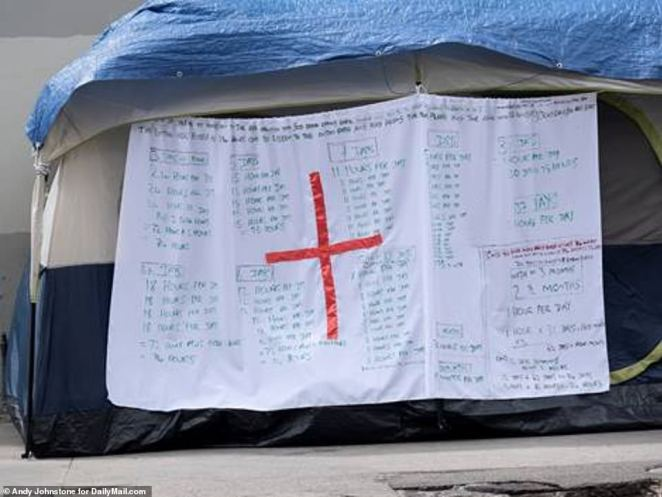 The one tent on Skid Row that had a red cross on it was being used for religious rather than medical purposes, with lists of Bible reading times written on the side