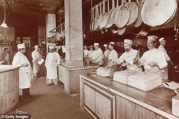 Delmonico's temporarily shut their doors and 'suspended all operations' as part of the lockdown on March 18. This image shows cooks preparing food at Delmonico's in 1902
