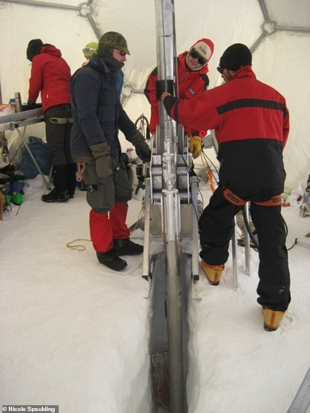 Researchers used high-precision laser technology to analyse the contents of an 800-year-old section of ice bored out of the Colle Gnifetti glacier in 2013