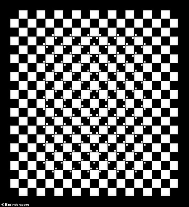 Another version of Akiyoshi's regular squares illusion (pictured) makes the squares look like they curve towards the middle