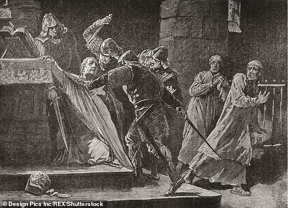 Pictured, an artist's impression of the murder of Thomas Becket on December 29, 1170