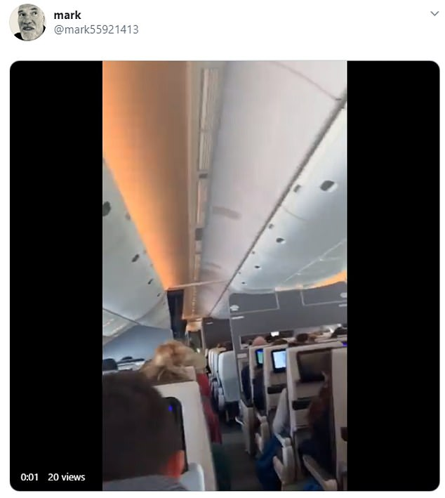 Twitter user called Mark posted a short video showing people cheering when they landed in Gatwick today
