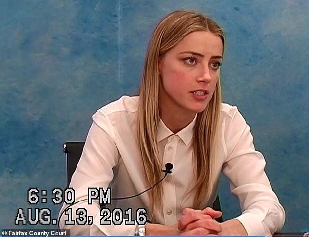 The former lovebirds met on the set of The Rum Diary in 2011, married four years later - but parted in May 2016 amid a slew of thrilling allegations of domestic violence and sensational newspaper headlines. Pictured: heard during her testimony in 2016, where she described hitting Depp in the face to prevent her from hurting her sister, she said.