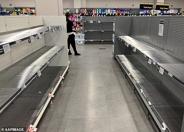 Supermarket shelves have been left bare of the essentials - particularly toilet paper - since panic buying began