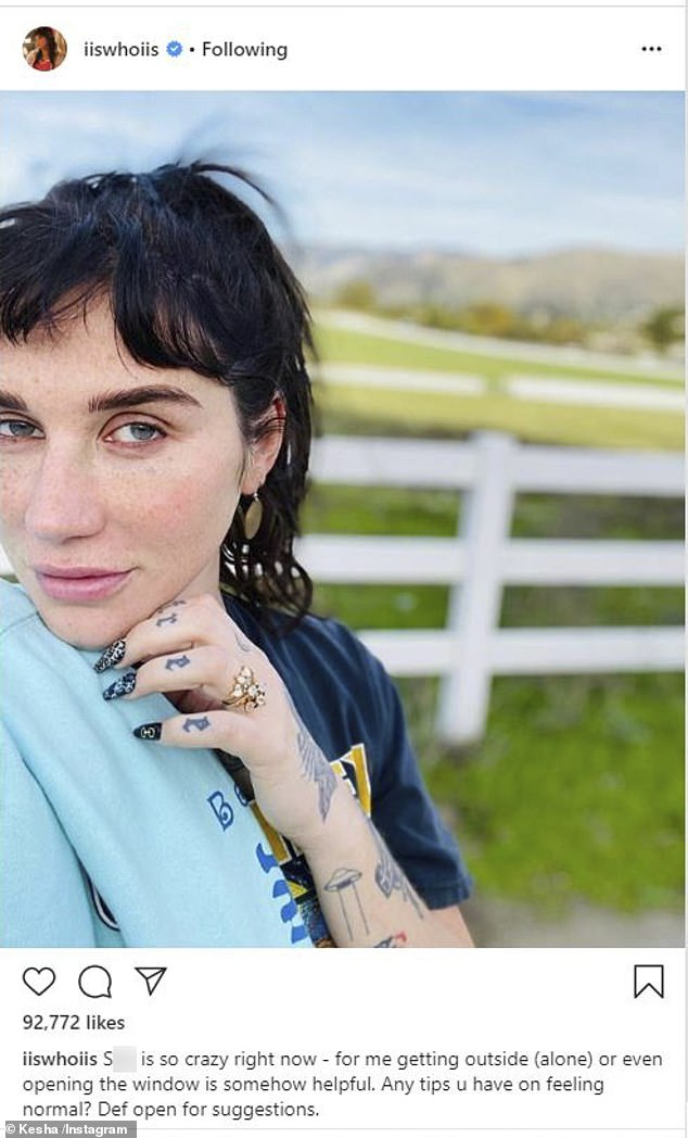Staying home: The Tik Tok hitmaker shared this fresh-faced selfie at the weekend as she remains in self-isolation to protect herself from COVID-19