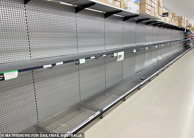 Shelves in Woolworths supermarkets have been cleared over the last month by coronavirus panic-buyers