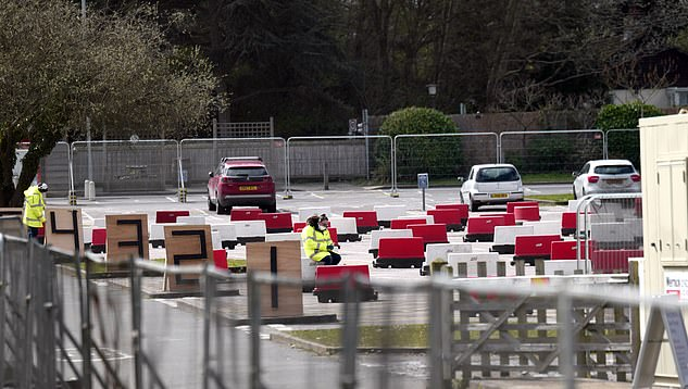 There was little activity at the Chessington coronavirus testing site yesterday, which has been set up as a drive-thru for NHS workers who need to get tested