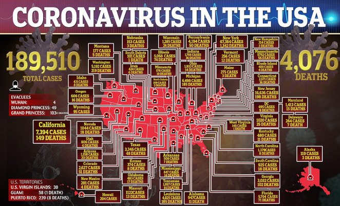 There are cases of coronavirus in every state in the US now but New York is by far the worst affected