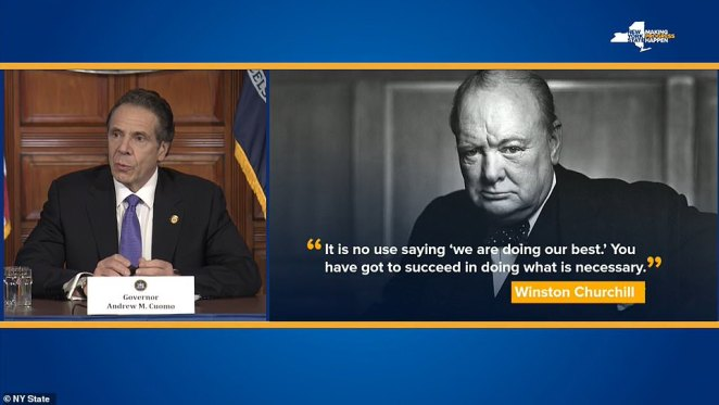 During his press conference, the governor quoted Winston Churchill and said his staff 'had to succeed' at overcoming the crisis