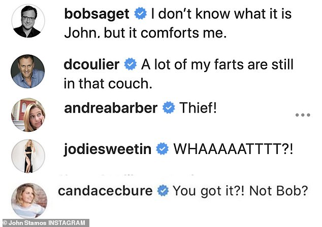 Comfort: actor co-star Bob Saget was the first to respond in the comments, saying,