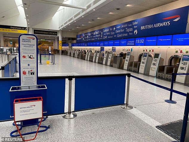 British Airways check-in area considered empty at Gatwick Airport as coronavirus spread continues