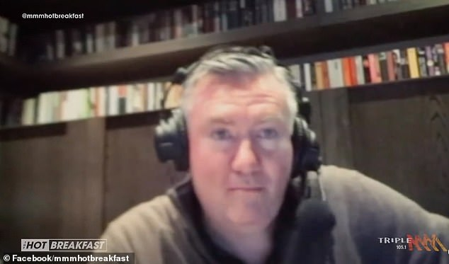 Eddie McGuire revealed he was fired up before his clash with Nine's Tony Jones after seeing a young AFL fan walking down the street in team colours during the coronavirus pandemic. He told Triple M Hot Breakfast on Thursday (pictured)