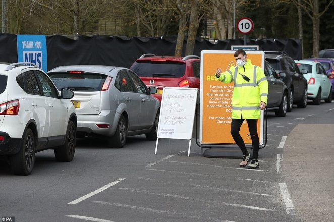NHS staff were today finally being swabbed for coronavirus at a make-shift facility in Chessington, with queues of cars being waved through by a security guard in hi-vis jacket