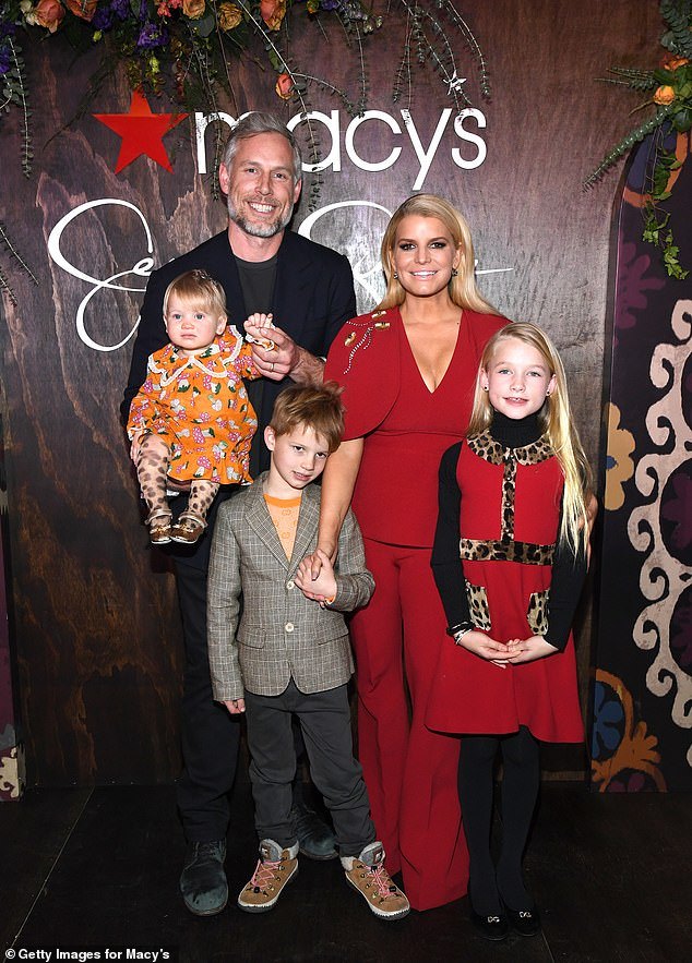 Present:Jessica is married Eric Johnson in 2014 after dating for four years; they have three children together: daughters Maxwell, seven, and Birdie, one, and son Ace, six; pictured February 5 with her husband Eric Johnson and their three kids
