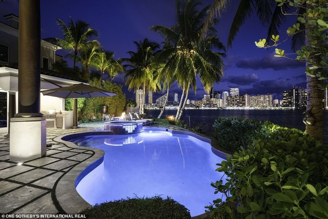 Fabulous:The property's outdoor areas are also outfitted with Khaled's impressive landscaping and plants, as well as a lagoon-style pool