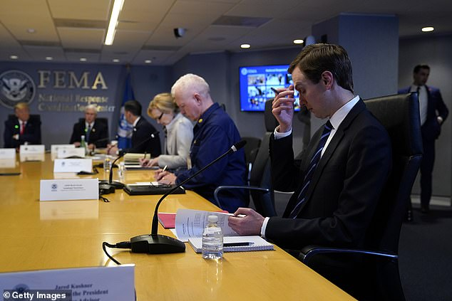White House Adviser Jared Kushner Attends Teleconference With Governors At Federal Emergency Management Agency Headquarters Left to Right, President Donald Trump, Vice President Mike Pence, Acting Secretary of Security Interior Chad Wolf, White House Coronavirus Response Coordinator, Dr. Deborah Birx and Admiral Brett Giroir, Assistant Secretary of Health and Kushner March 19, 2020 in Washington, DC