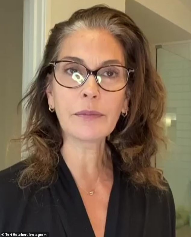 Can-do attitude: Teri Hatcher took to Instagram last week with a tutorial on how to dye away her gray roots using products at home