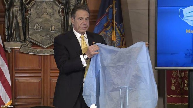 Cuomo is asking companies with manufacturing capabilities in the US or in the state to start making medical gowns, surgical masks and gloves for the healthcare workers that need them. He says he will pay them a 'premium' for them if they can make them on time