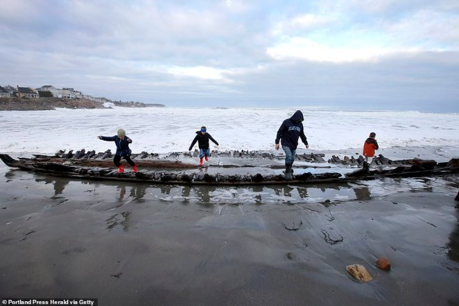 Stefan Claesson who is a certified unmanned aircraft (UAS) mapping scientist and head of the project told DailyMail.com that the ship was carrying a four man crew along with flour, pork and English goods when it encountered a fierce storm that forced it ashore onto York Beach