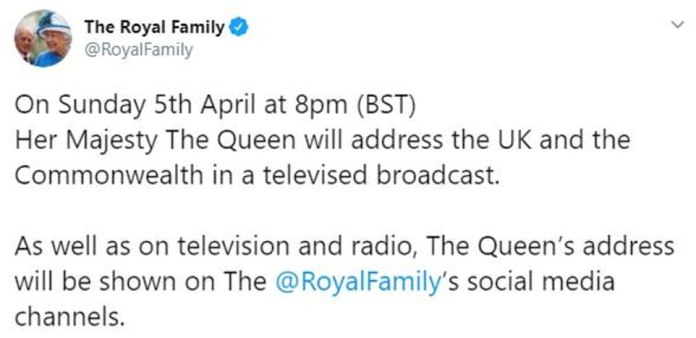 @RoyalFamily account announced the Twitter posting shortly after 2 p.m. today